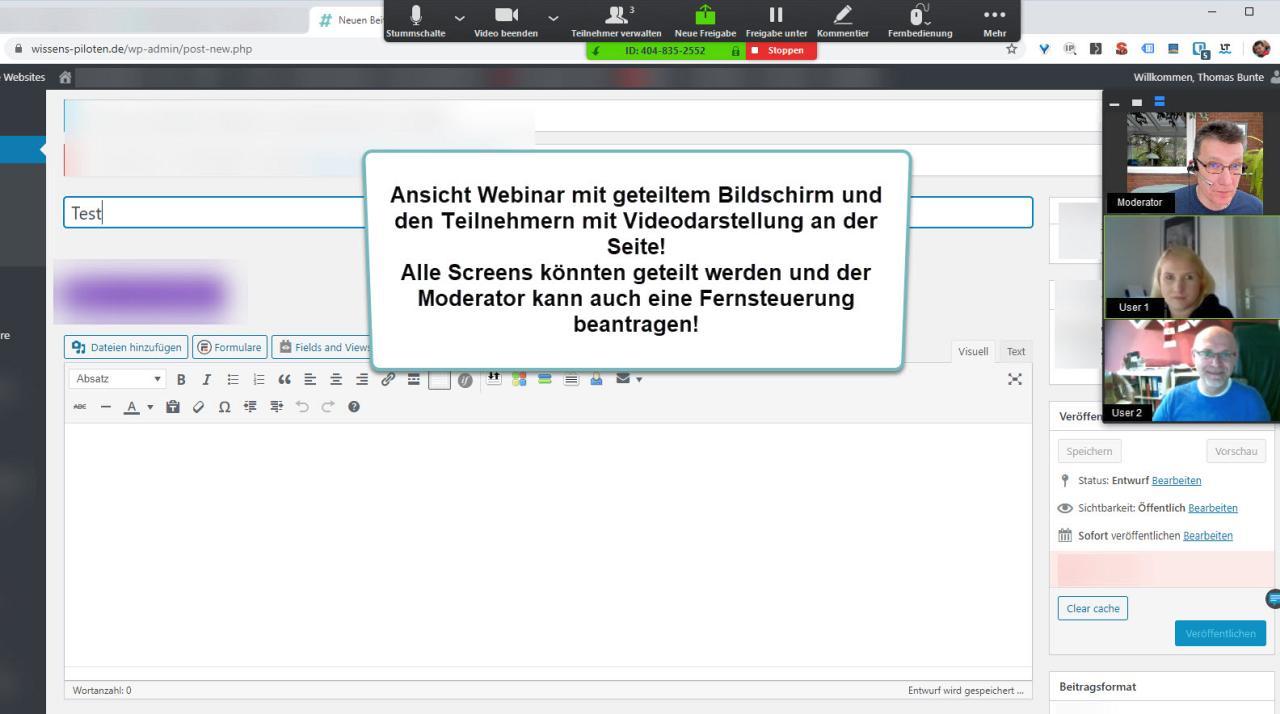 Geteilter Bildschirm bei einem Webinar